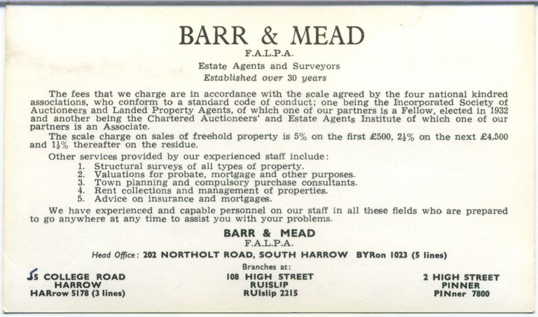 Bar and Mead Business Card Reverse